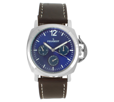 Peugeot Men's Multi-Function Leather Strap Watch