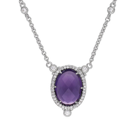 Judith Ripka Sterling Amethyst and Diamonique Necklace