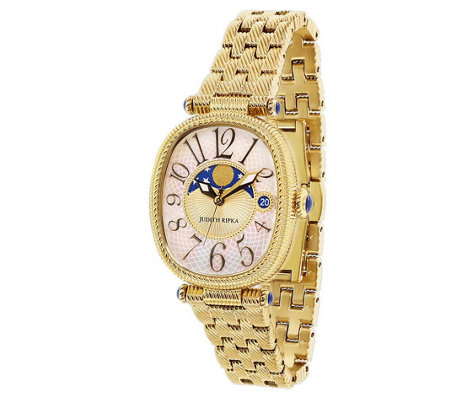Judith Ripka Goldtone Stainless White Moon Phase Watch