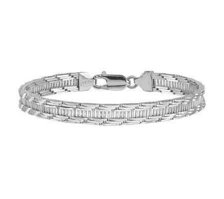 Italian Silver Textured Ladder Bracelet 12 6g