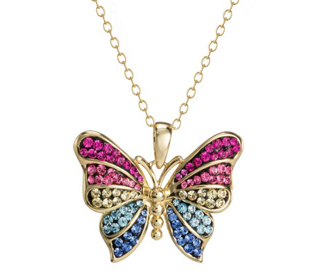 Colorful Rainbow Butterfly Necklace Sterling Silver Plated Chain Link Women/'s
