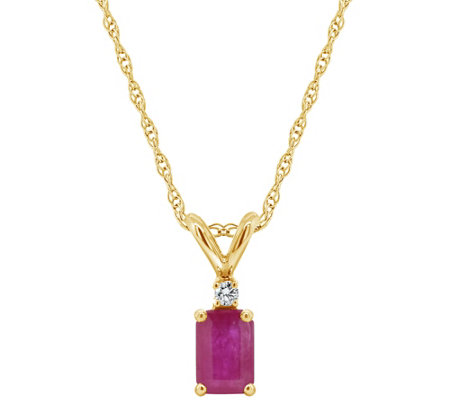 14K Emerald-Cut 0.60 cttw Ruby Diamond Accent Pendant w/ Chain