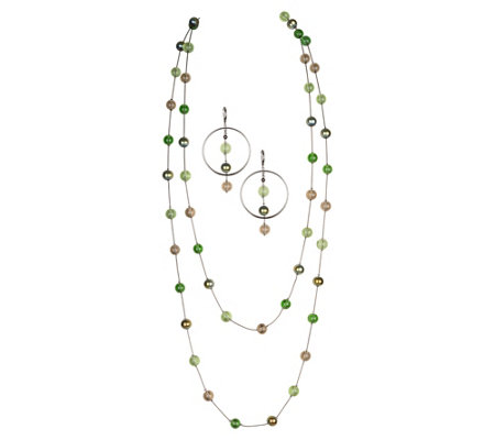 "Linea by Louis Dell'Olio 72"" Cathedral Necklace& Earring Set"