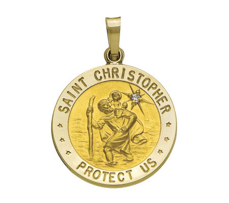 14K Yellow Gold St. Christopher Medal with Diamond Accent