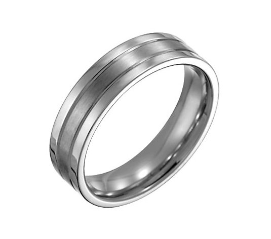 Steel By Design Men's 6mm Flat Satin PolishedRing