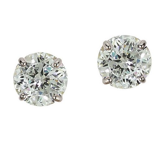 Diamonique 4 00 Ct Tw 100 Facet Stud Earrings 14k Gold Qvc Com