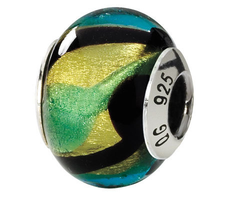 Prerogatives Sterling Multicolored Italian Murano Glass Bead