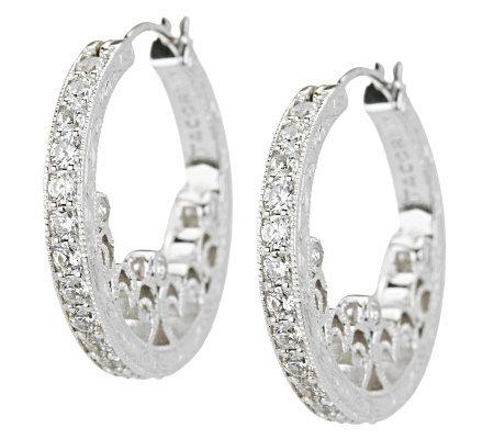 Tacori Iv Diamonique Epiphany Harlequin Heart Hoop Earrings