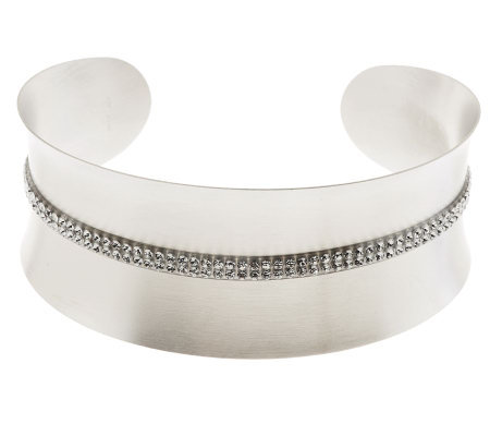 VicenzaSilver Sterling Satin Finish Double Row Pave' Crystal Cuff