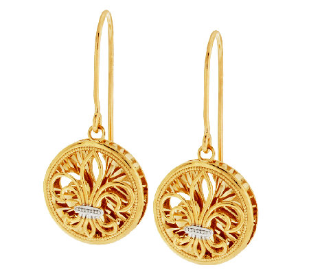 14K Gold Textured Fleur de Lis Drop Earrings