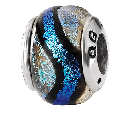 Prerogatives Sterling Blue and Black Dichroic Glass Bead