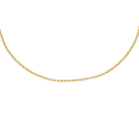 "24"" Polished Classic Rolo Link Necklace,1K Gold2.3g"