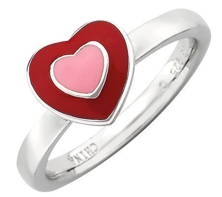 Simply Stacks Sterling Red & Pink Epoxy EnamelHeart Ring