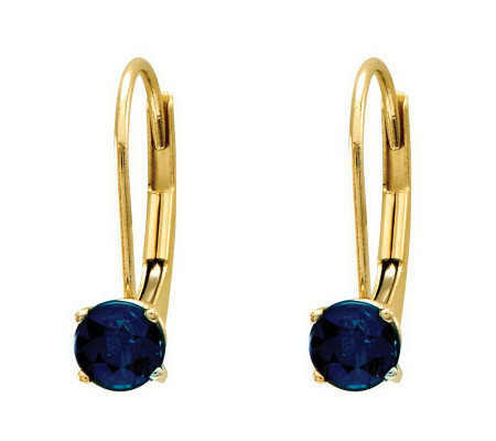Round Birthstone Lever Back Earrings, 14K Gold