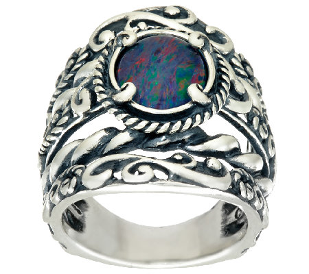 Carolyn Pollack Opal Triplet Sterling Silver Signature Design Ring