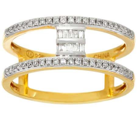"""As Is"" Baguette Bar Diamond Ring, Sterling 1/5ct by Affinity"