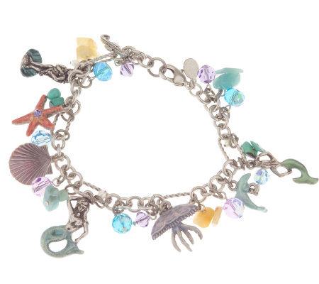 Kirks Folly Crystal Enamel Under The Sea Mermaid Charm Bracelet