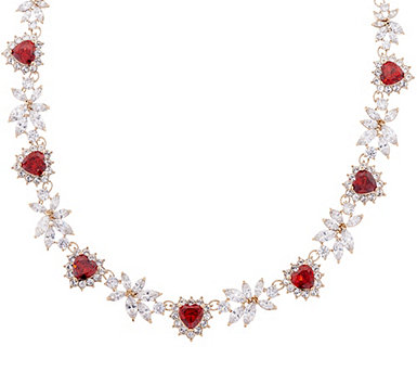 Grace Kelly Collection Simulated Diamond & Ruby Hearts Necklace - J346320