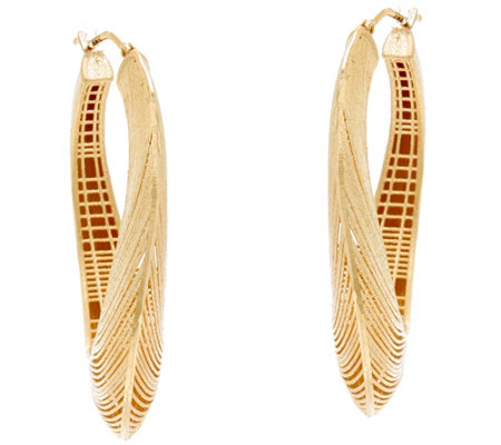 Arte d' Oro Satin Texture Oval Hoop Earrings 18K Gold