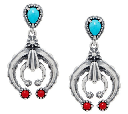 American West Turquoise & Coral Sterling Naja Dangle Earrings