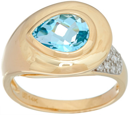 """As Is"" Pear Cut Gemstone & Pave' Diamond Ring, 14K Gold 1.30 ct"