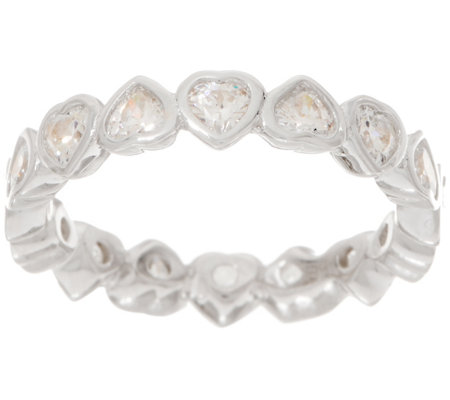 Diamonique 1.70 cts Heart Eternity Band, Sterling