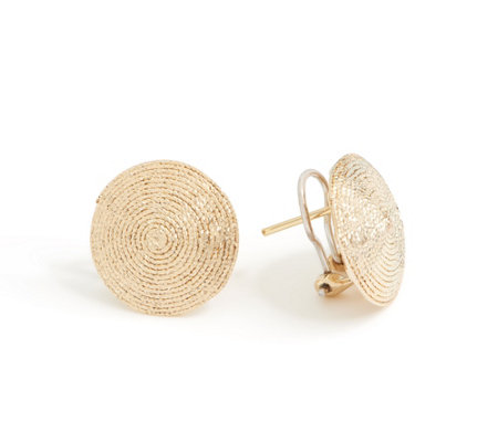 Italian Gold Diamond Cut Disc Earrings 14K Gold