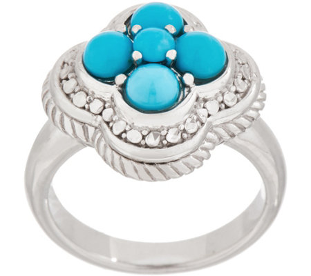 Sleeping Beauty Turquoise Cluster Flower Ring, Sterling