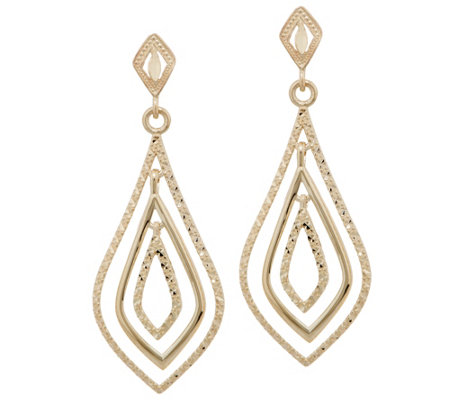14K Gold Teardrop Dangle Earrings