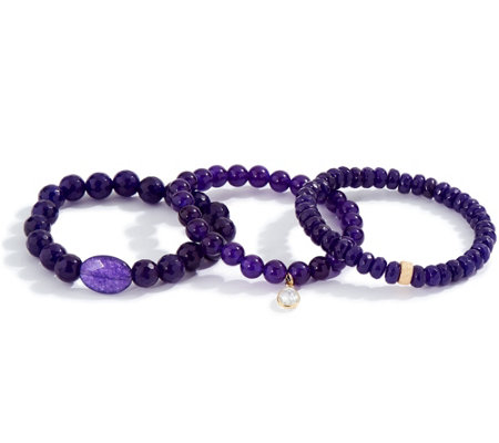 Dee Berkley Set of Three Purple Quartzite Bracelets