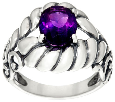 """As Is"" Carolyn Pollack Sterling Silver 1.90 cttw Oval Gemstone Ring"