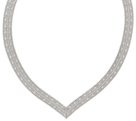 "Imperial Silver 18"" Mirror Wheat V Necklace, 54.2g"