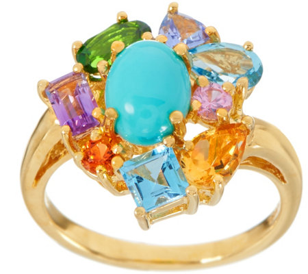 Turquoise and Mixed Gemstone Ring, 2.20 cttw, Sterling Silver