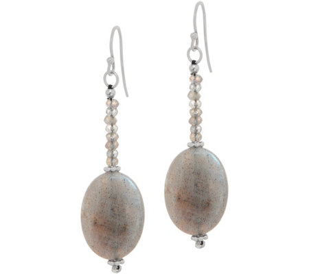 Oval & Faceted Opaque Gemstone Drop Earrings, Sterling