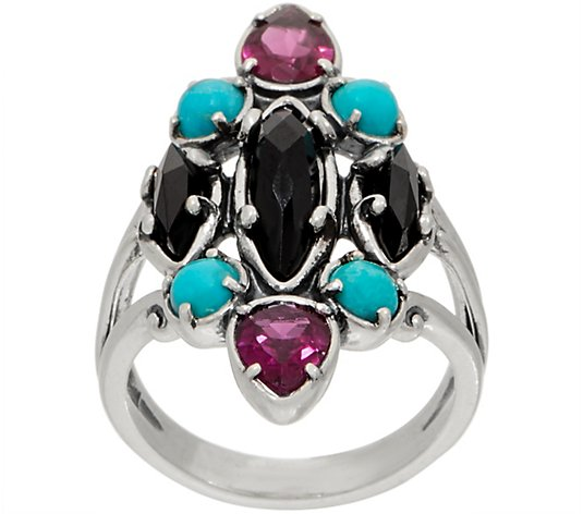 Carolyn Pollack Couture Sterling Silver Multi Gemstone Ring