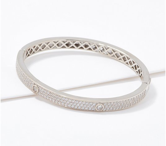 Diamonique Pave and Bezel Stone Bangle, Sterling Silver