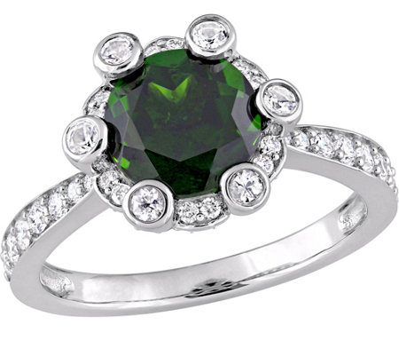 14K 2.40 cttw Gemstone & 1/2 cttw Diamond HaloRing