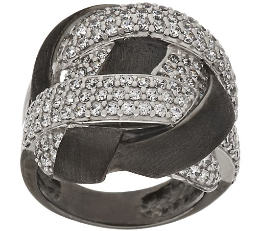 Italian Silver Crystal Satin Woven Design Ring,Sterling