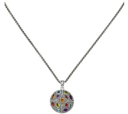"Sterling Silver & 14K Multi-Gemstone Pendant with 18"" Chain"
