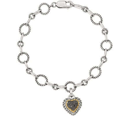 Affinity 1/4 cttw Black Diamond Bracelet,Sterling & 14K