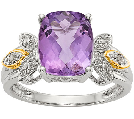 Sterling/14K 2.85 ct Amethyst and Diamond Accent Ring