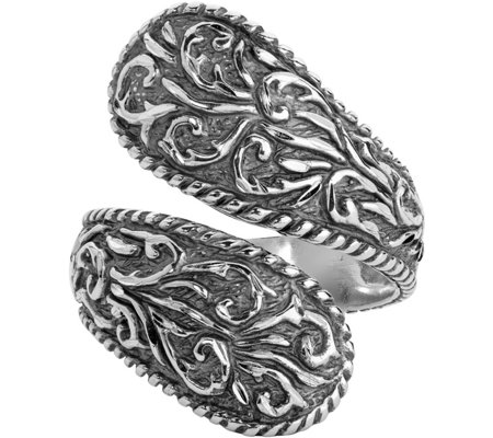 American West Sterling Diamond-Cut Scroll Bypass Ring
