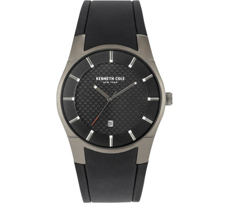 Kenneth Cole NY Men's Black Stainless and Silicone Watch