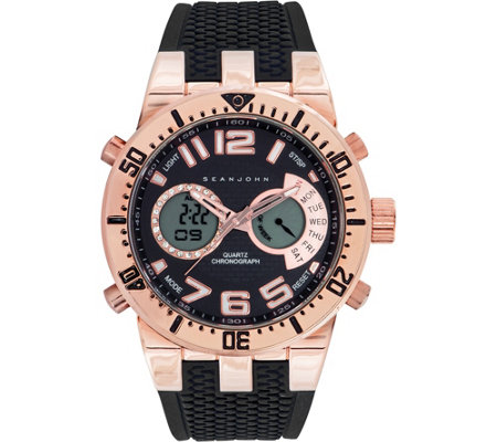 Sean John Men's Analog Digital Rosetone Multi-Function Watch