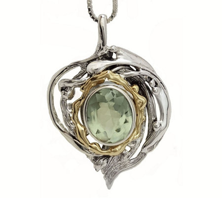 Hagit Sterling & 14K 4.50 ct Oval Green Quartz Pendant