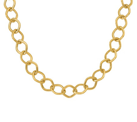 Italian Gold Square Link Necklace, 14K