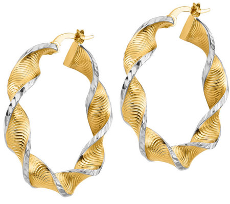 "Italian Gold 1-1/4"" Two-Tone Twisted Hoop Earrings 14K, 3.1g"