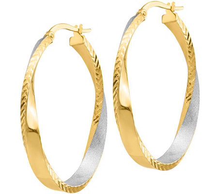 "Italian Gold 1-1/2"" Oval Twisted Hoop Earrings14K, 3.4g"