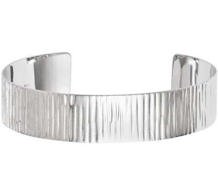 Sterling Silver Polished Ribbed Cuff, 14.0g
