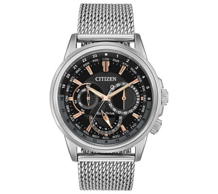 Calendrier Pathfinder.Citizen Eco Drive Men S Calendrier World Time Watch Qvc Com